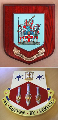 Heraldic shields and presentation plaques
