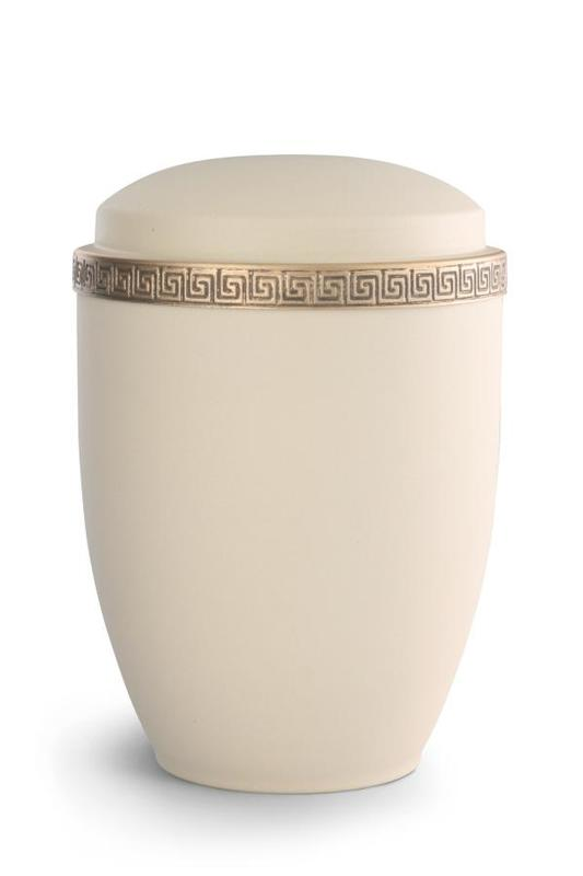 Steel Urn Cream With Gold Block Spiral Border Uvo Stu372 078 Shaw S Funeral Products