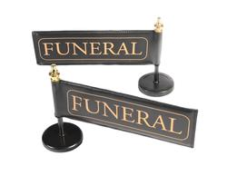 Funeral Car Flag and Pole (Black and Gold)