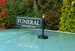 Funeral Car Flag and Pole (Black and White)