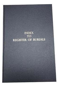 Index to register of burials, with index cut through fore-edge