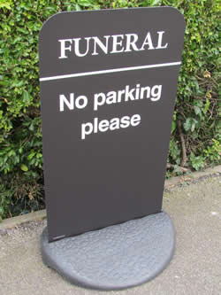 Funeral 'No Parking Please' Sign