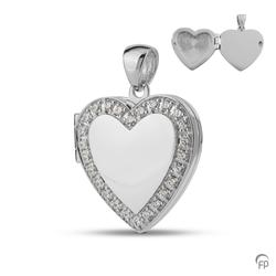 Sterling Silver Heart Locket with Crystal Border