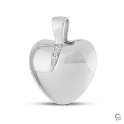 Sterlinf Silver Crystal Puff Heart Pendant