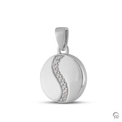 Sterling Silver Round Pendant with Crystal Detail