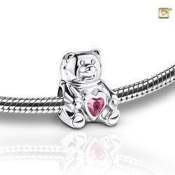 Sterling Silver Teddy Bear Charm - Pink Gem (PRICE REDUCED)
