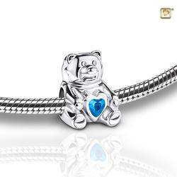 Sterling Silver Teddy Bear Charm - Blue Gem (PRICE REDUCED)