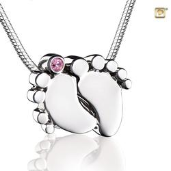 Sterling Silver Footprint Pendant - Pink Gem (PRICE REDUCED)