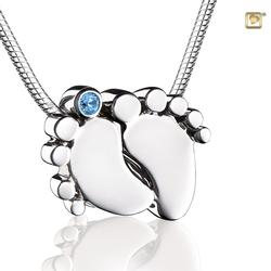 Sterling Silver Footprint Pendant - Blue Gem (PRICE REDUCED)
