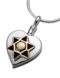 Sterling Silver Heart Pendant with 14K Star of David Insert (PRICE REDUCED)