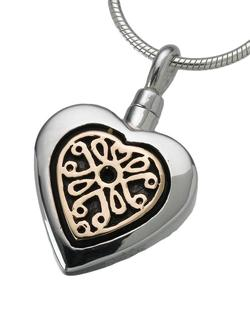 Sterling Silver Heart Pendant with 14K Gold Filigree Insert