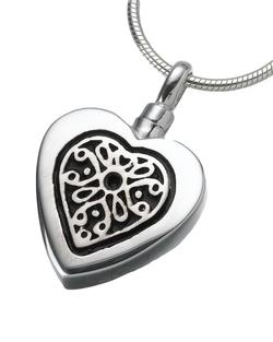 Sterling Silver Heart Pendant with Sterling Filigree Insert