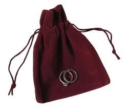 Suedette Jewellery Pouch in Burgundy (Medium)