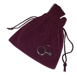 Large Suedette Jewellery Pouch - Burgundy