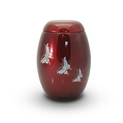 Glass Fibre Urn (Burgundy with Butterfly Design)