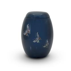 Glass Fibre Urn (Blue with Butterfly Design)