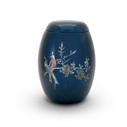 Glass Fibre Urn (Blue with Bird Design)