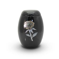 Glass Fibre Urn (Black with Bird Design)