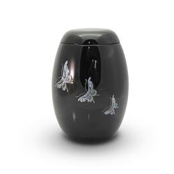 Glass Fibre Urn (Black with Butterfly Design)