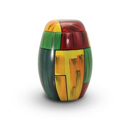 Glass Fibre Urn (Yellow and Green Abstract Design) PRICE REDUCED, LIMITED STOCK)