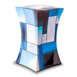 Glass Fibre Urn (Lantern Design in Multicolour Blue Pink Black)