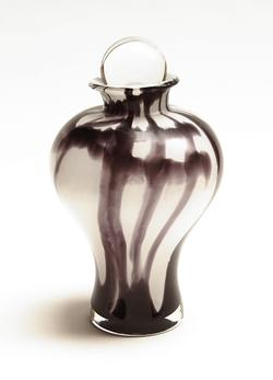 CRYSTAL URN - BLACK & WHITE (CLEARANCE ITEM. LIMITED STOCK