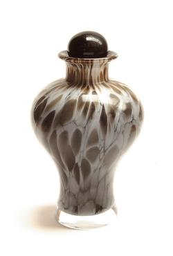 CRYSTAL URN - BROWN & GREY ABSTRACT PATTERN (CLEARANCE ITEM. LIMITED STOCK