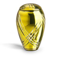 Crystal Urn (Yellow with Frosted Glass Decoration)