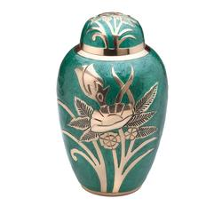 BRASS URN- GREEN ENAMEL FLORAL DETAIL (CLEARANCE ITEM LIMITED STOCK)