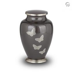 BRASS URN - GREY WITH  STEEL BUTTERFLIES (CLEARANCE ITEM LIMITED STOCK)
