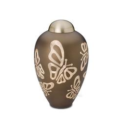 BRASS URN (BROWN WITH BUUTERFLIES) (CLEARANCE ITEM. LIMITED STOCK)