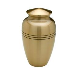 BRASS URN - BRASS COLOUR WITH 3 BLACK RINGS. (CLEARANCE ITEM LIMTED STOCK)