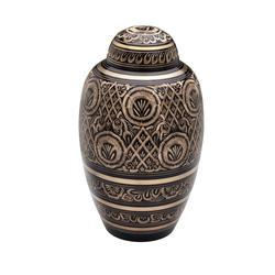 BRASS URN - BLACK WITH GOLD DETAIL (CLEARANCE ITEM. LIMITED STOCK)