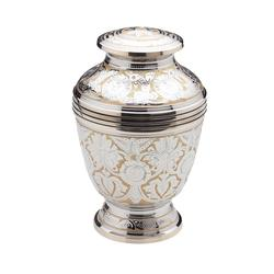 BRASS URN - GOLD + INTRICATE SILVER DETAIL (CLEARANCE ITEM. LIMITED STOCK)