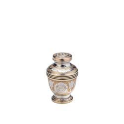 BRASS K/SAKE URN - GOLD WITH SILVER DETAIL (CLEARANCE ITEM. LIMITED STOCK)