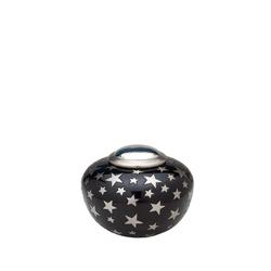 ROUND SIMPLICITY URN - BLACK & SILVER STARS (CLEARANCE ITEM. LIMITED STOCK))