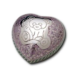HEART KEEPSAKE - SILVER PLATE TEDDY BEAR (CLEARANCE ITEM. LIMITED STOCK)