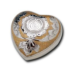 HEART KEEPSAKE  GOLD & SILVER PLATE + FLOWER (CLEARANCE ITEM. LIMITED STOCK)