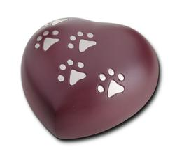 Keepsake Heart 0.4L (Cranberry with Silver Pawprints)