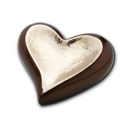 HEART KEEPSAKE - BROWN AND HAMMERED GOLD (CLEARANCE ITEM. LIMITED STOCK)