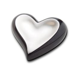 HEART KEEPSAKE - BLACK SMOOTH SILVER (CLEARANCE ITEM. LIMITED STOCK)