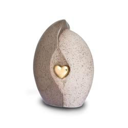 Ceramic Urn (Natural Stone with Gold Heart Motif)
