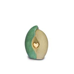 Small Ceramic Urn (Jade and Sandstone with Gold Heart Motif)