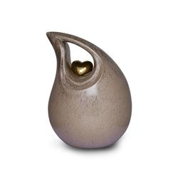 Ceramic Urn (Neutral with Gold Heart Motif)