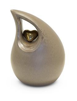 Medium Ceramic Urn (Neutral with Gold Heart Motif)
