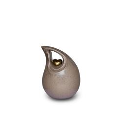 Small Ceramic Urn (Neutral with Gold Heart Motif)