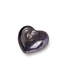 Small Ceramic Heart Urn (Graphite Blue)