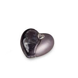 Small Ceramic Heart Urn (Graphite with Silver Heart Motif)