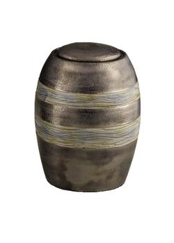 Ceramic Urn (Brown with Textured Stripes)