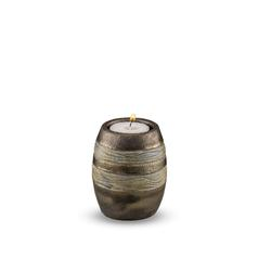 Candle Holder Keepsake (Brown with Textured Stripes)